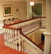 Staircase Picutures - Painted wood stair with oak treads and Oak handrail