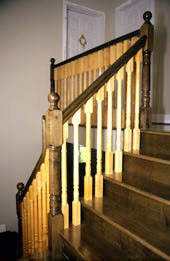 Staircase Pictures - Picture of solid maple stairs and maple railings with a two tone staining effect