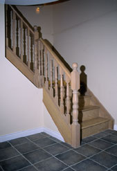 Staircase Pictures - Picture of a double Housed stair stringer in a pickled oak finsh