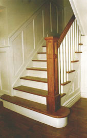 Staircase Picture - Picture of painted wood stair with oak treads and Oak handrail with box newel post